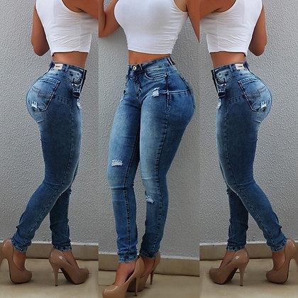 Sexy High Waist Peach Push Up Skinny Jeans