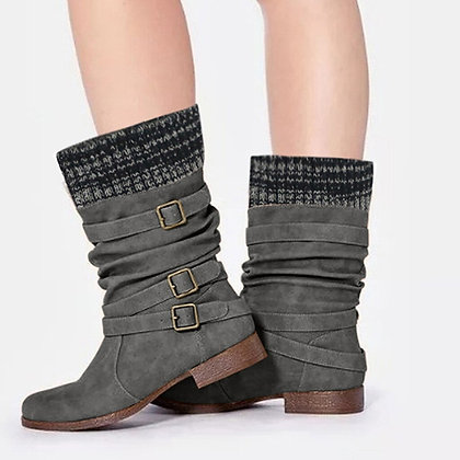 Women's Classic Flats Round Toe Low-Heeled Buckle Strap Boot