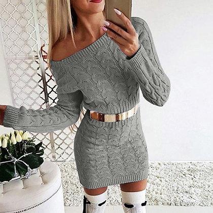 MONERFFI Sexy Bodycon Mini Sweater Shirt