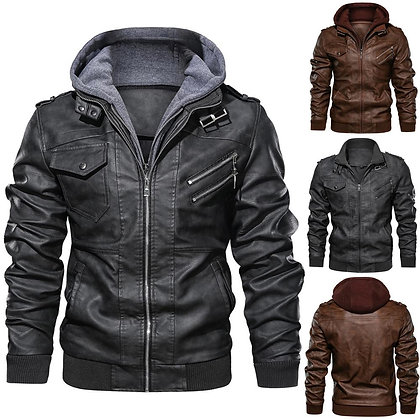 Men's Motorcycle Jacket Slim Fit W/ Detachable Hood