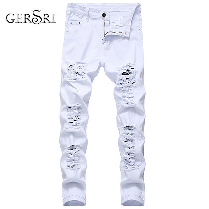 Gersri Men's Straight Hole Destruction Distressed Jeans Denim