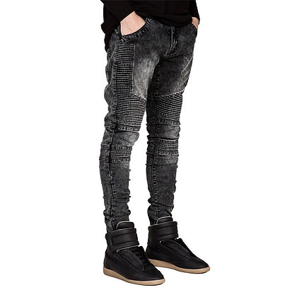 Men's Runway Slim Racer Biker Hiphop Skinny Jeans