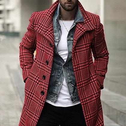 NEUE Men's Wool Overcoat W/ Plaid Blends