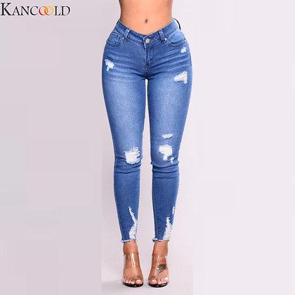 Women Ripped Blue Denim  Pancil High Waist Slim  Stretch Jeans