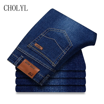 Men's Slim Stretch Denim Black & Blue Straight Jeans