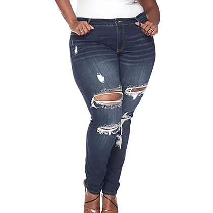 Women's Plus size High Waist Stretch Ripped Jeans