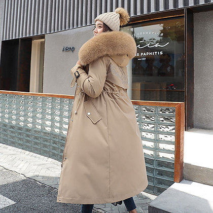 Women's Down Parkas Long Hooded Coat W/ Adjustable Waist and Fur Collar