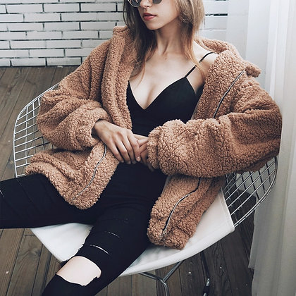 Women's Faux Fur Teddy Coat Soft Zipper Overcoat Teddy Coat