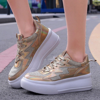 Woman's Colorful Platform Mesh Breathable Sneakers