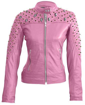 Women's Pink Skeleton Studs Leather Jacket