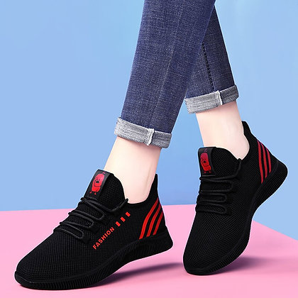 Women's Casual Black/Red Sneakers