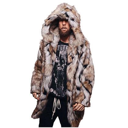 Men's Faux Leopard Fur Coat W/ Hood