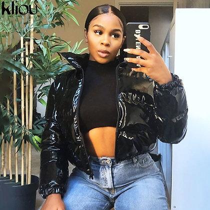 Kliou Women's Crop Bubble Puffer Parkas Faux PU Leather Coat