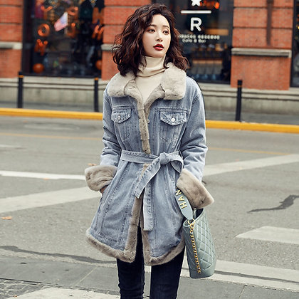 Thickened Velvet Denim Waist Slimming Coat/Jacket With Fur Lining