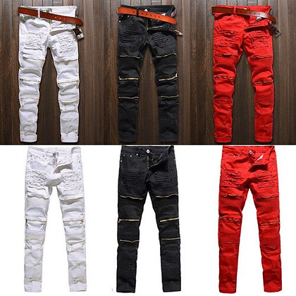 Men's Skinny Stretch Denim Ripped Jeans