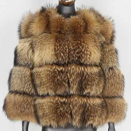 Women's FURBELIEVE Real Raccoon Fur Coat W/ Removable Vest