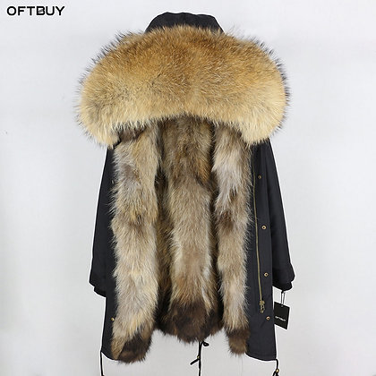 Women's Real Fox Fur Long Parka Waterproof W/ Big Raccoon Fur Collar & Hood Coat