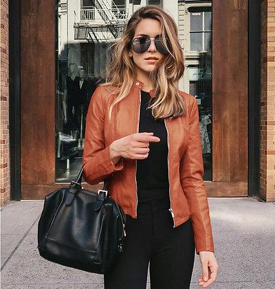 Women's Motorcycle Jacket Slim fit PU Leather