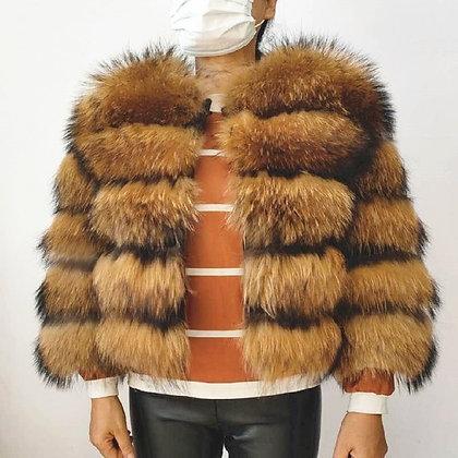 Real Raccoon Fur Coat Sleeves Detachable