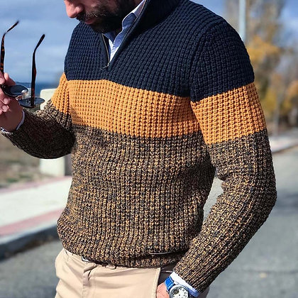 Men's Casual Pullover V Neck Knitted Sweater