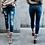 Thumbnail: Women Ripped Denim Slim Elasticity Moustache Effect Vintage Jeans