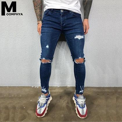 Men's Denim Skinny Streetwear Biker Jeans