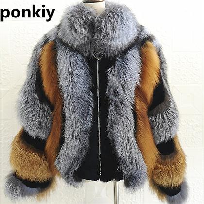 Women's Real Silver Fox Fur Short Coat/Jacket