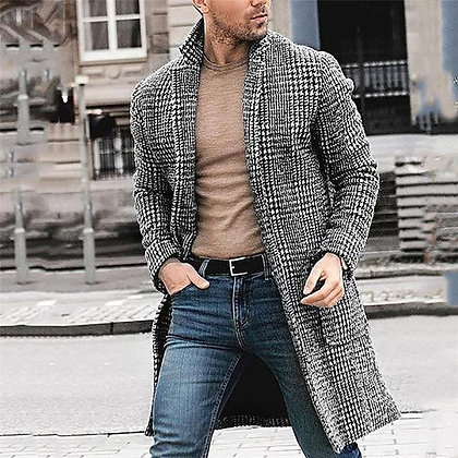 Men's Casual Cardigan Plaid Print Trench Coat/Jacket