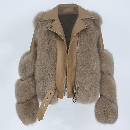 OFTBUY Women's Fox Fur/Genuine Leather Coat &  Vest Winter Outerwear Detachable