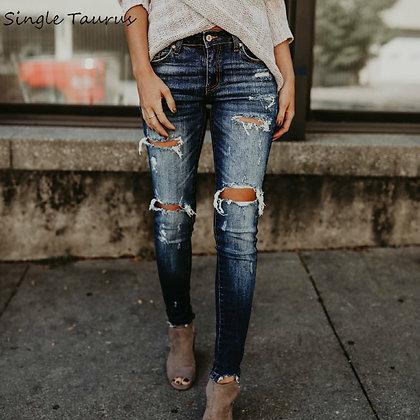 Women Ripped Denim Slim Elasticity Moustache Effect Vintage Jeans
