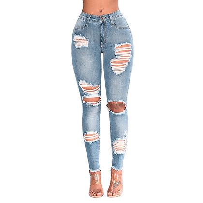 Women's Skinny High Waist Destroyed Knee Jeans