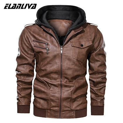 Men's Casual PU Leather Motorcycle Jacket W/ Hooded