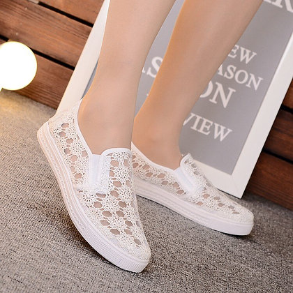 Women's Mesh Breathable Shoes W/ Lace Hollow Mesh