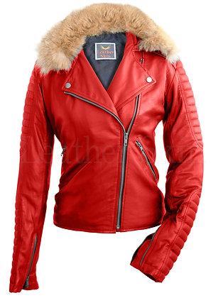 Women's Red Fox Fur Biker Leather Jacket