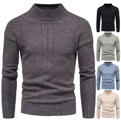 Men's Pullover Semi Turtleneck Sweater