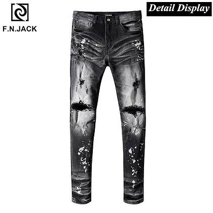 F.N.JACK Men's Hip Hop Ripped Slim Fit Jeans
