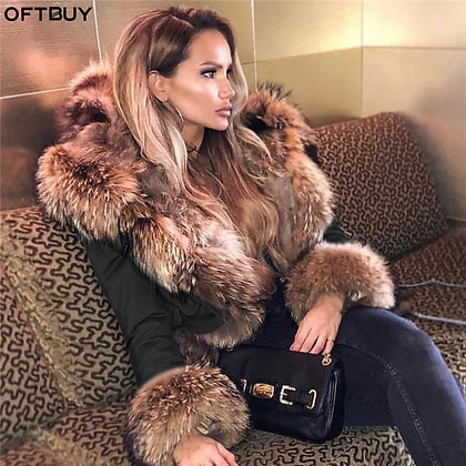 OFTBUY Women's Long Parka Real Fox Fur Coat W/ Natural Raccoon Fur Collar