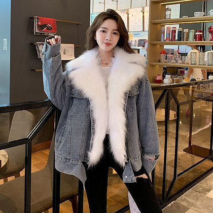 Women's Denim White Large Fur Collar Cotton Coats/Jacket