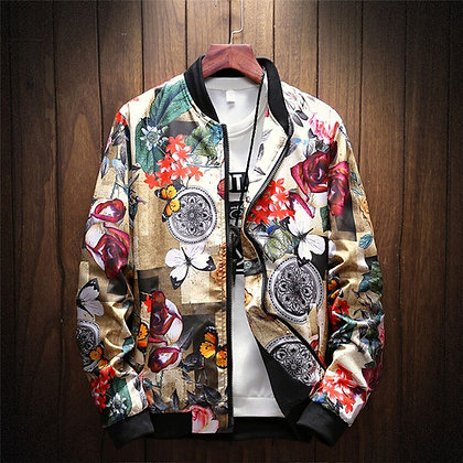 Men's Retro Printed Jacket/Coat W/ Stand Collar