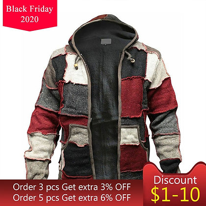 Men's Retro Stitching Cardigan Casual Hooded