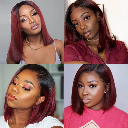 13x4 Glueless Straight Burgundy Human Hair Lace Front Wigs