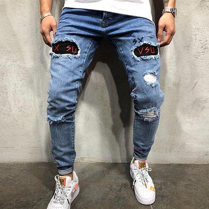 Stylish Modis Homme Ripped Biker Slim Straight Denim Embroidery Jeans