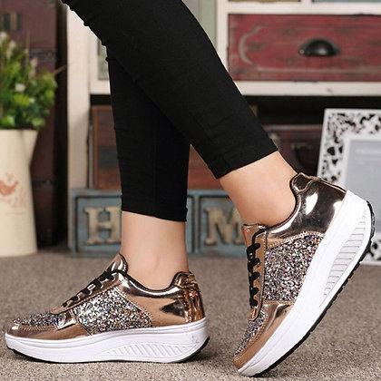 Women's Wedges Sequin Sneakers
