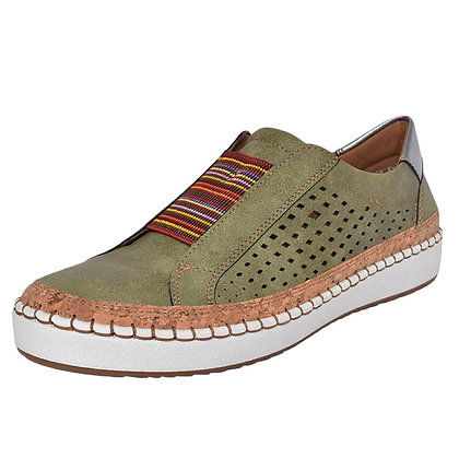 Women's Casual Hollow-Out Round Toe Slip on Sneakers