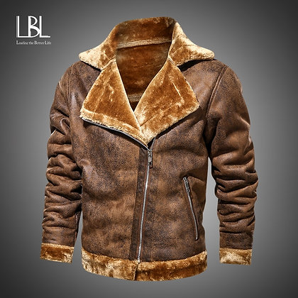 Men's Slim Fit Retro PU leather and Faux Fur Motorcycle Jacket