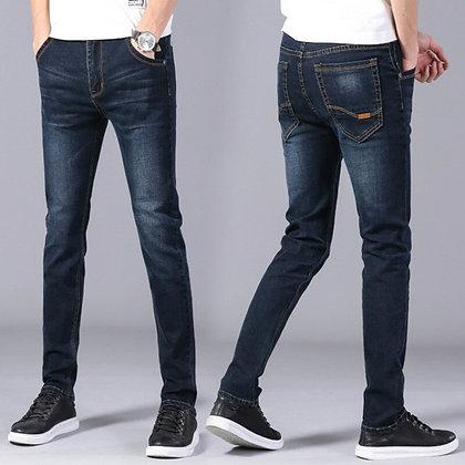 Men's Blue Black  Slim Fit Elastic Jeans