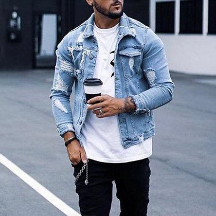 Men's Slim Denim Ripped Jacket