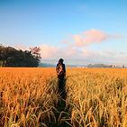 Femme marche seule dans un champ