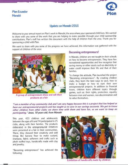 Jaaroverzicht - Werkjaar 2015 - Manabi/Ecuador