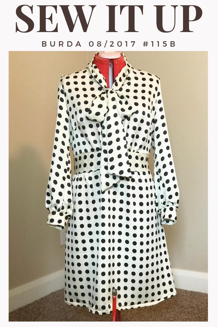 Black and White Polka Dot dress with Bow Tie Burda Pattern 08/2017 #115B